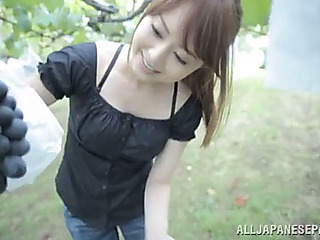 Pov head outdoors with the oriental sweetheart sayuki kanno