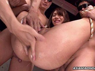 Small titty Asian slut bdsm treated by the fellas