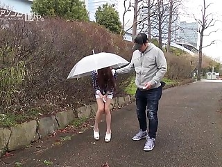 Remote controlled asian pussy outdoor