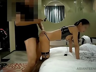 Asian whore with perfect body and sexy clothes fucks on camera