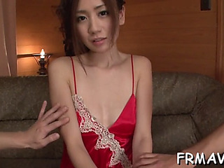 Japanese playgirl tames a massive cock